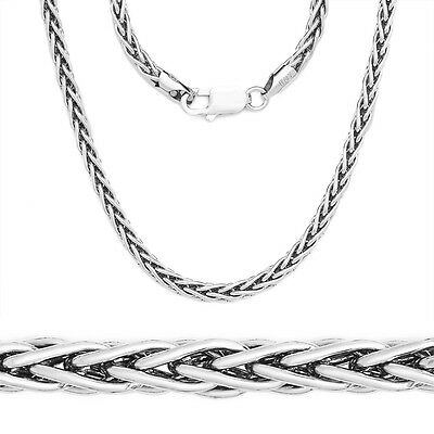 Solid 925 Sterling Silver 2.5mm Round Spiga Chain Necklace