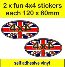 2 off road 4x4 fun stickers Union Jack decals land rover defender discovery