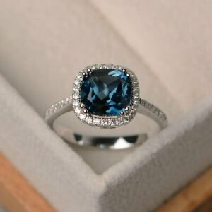 Details About 1 Ct Cushion Cut London Blue Topaz 14k White Gold Over Halo Diamond Wedding Ring