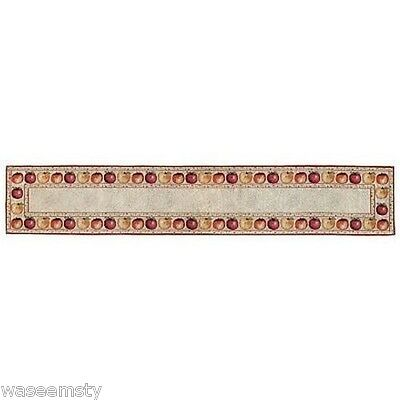 Country Red Orange Apple Floral Tapestry Kitchen Table Runner Dinning Room Decor