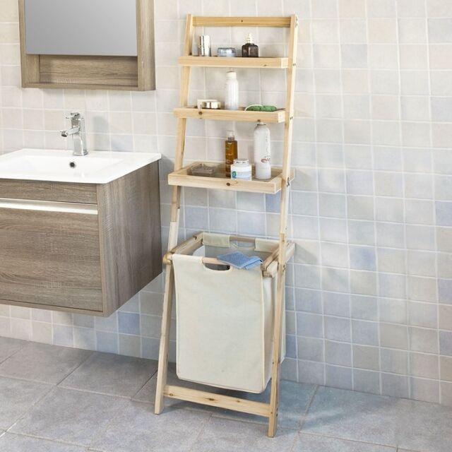 SoBuy® Estantería escalera de baño con cesta para ropa y 3 niveles,FRG160-N,ES