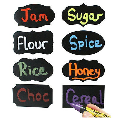 8x Multi Shape Small Chalk Black Board Mason Jar Labels Stickers Chalkboard P ys