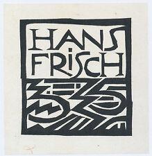 Woodcut bookplate exlibris by German Expressionist KARL SCHMIDT-ROTTLUFF 1912