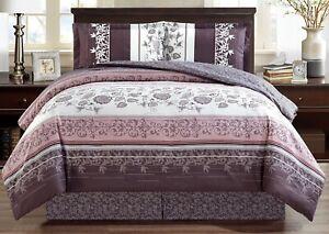 Purple-Grey-Black-White-Floral-Reversible-Goose-Down-Alt-Comforter-Set-Twin-Size