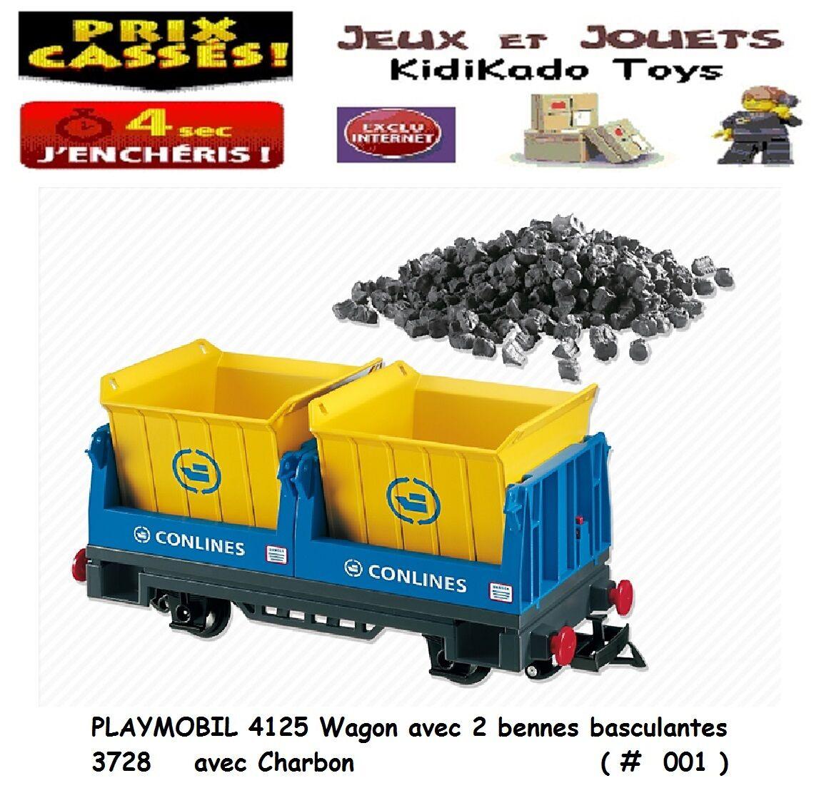 PLAYMOBIL® 4125 Wagon Wagon Wagon 2 Benne Custom Accessoire Charbon Auto Moto Train Gare  3  6ae33e