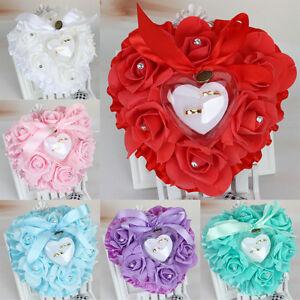 Rose-Wedding-Favors-Heart-Shape-Pillow-Box-Cushion-Rhinestone-Gift-Ring-Bearer