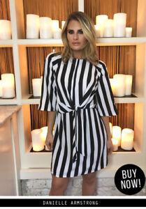 1d5a659cf8 AX Paris Womens Mini Dress Black   White Striped Tie Waist 3 4 ...