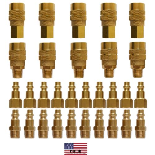30 PC Solid Brass Quick Coupler Set Air Hose Connector Fitting 1/4 NPT