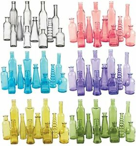 Vintage Colored Glass Bottles Wedding Party Vases 12 Piece