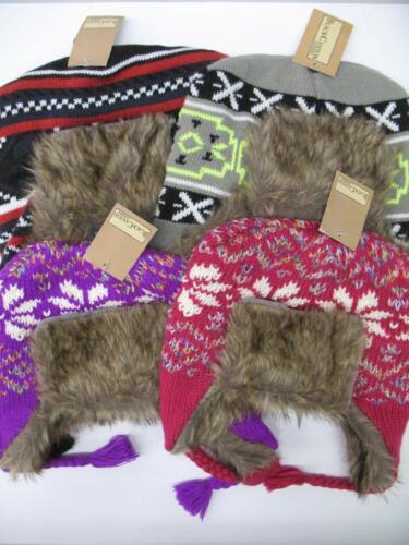 NEW Winter Knit Woven Trooper Hat Faux Fur Fleece Lining Snow Girls Boys Youth