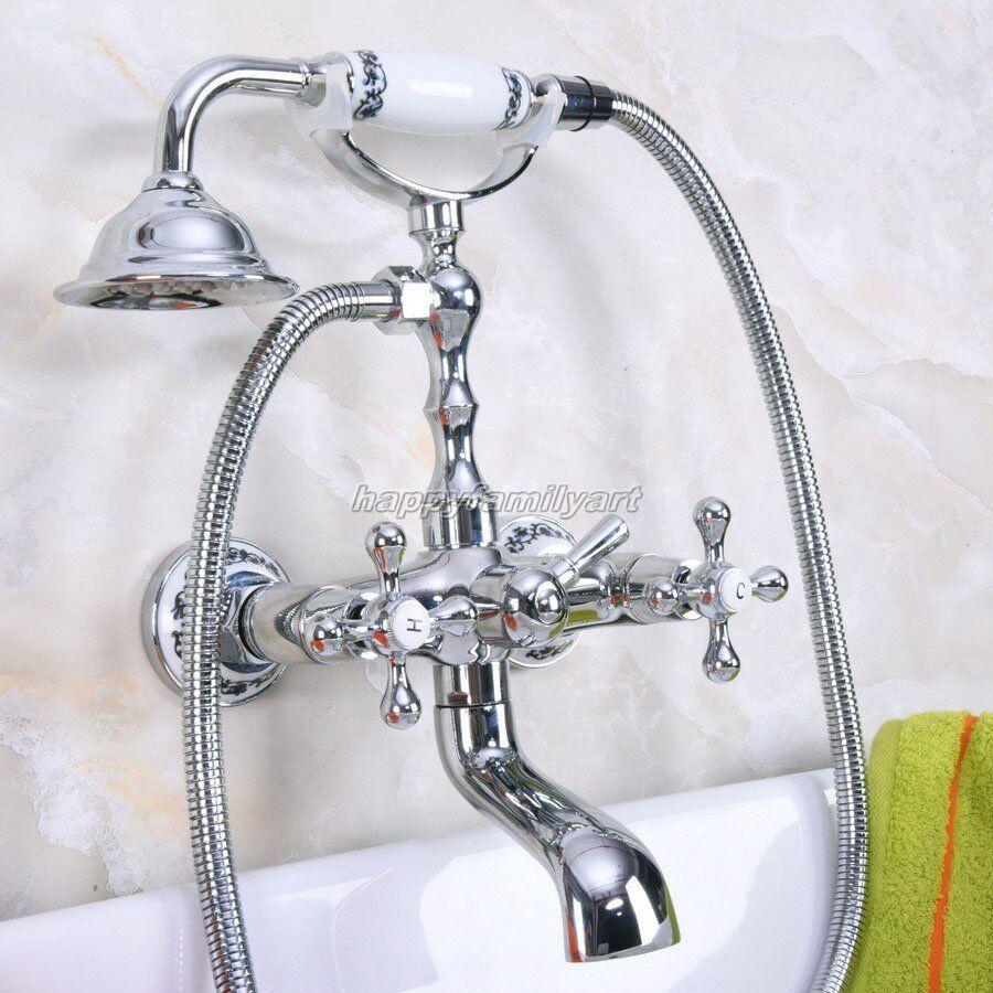 In ottone cromato montaggio a parete rubinetto bagno vasca Clawfoot con doccia a mano yna184