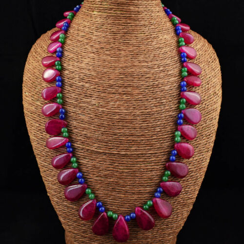Details about  /Genuine 380.00 Cts Earth Mined Ruby Emerald /& Sapphire Beads Necklace JK 12E242