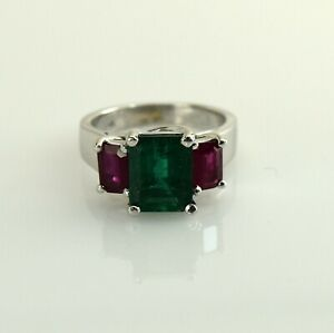 925-Sterling-Silver-Natural-Colombian-Emerald-African-Ruby-Octagun-Sale-Ring
