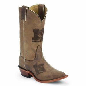 Nocona-LDUM11-Women-039-s-Missouri-Brown-Cowhide-Branded-College-Boots