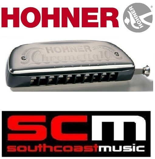 BRAND NEW HOHNER CHROMETTA 10 KEY OF C  253   40 HARMONICA bluS   FOLK HARP