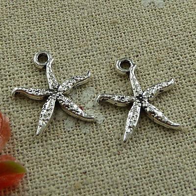 Free Ship 220 pieces tibetan silver starfish charms 19x17mm #1609