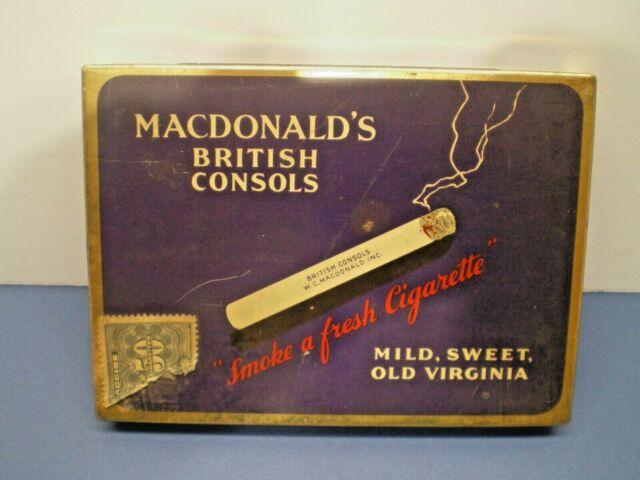 VINTAGE CIGARRETTE--TOBACCO TIN --MCDONALDS BRITISH CONSOLS-- pre 1959