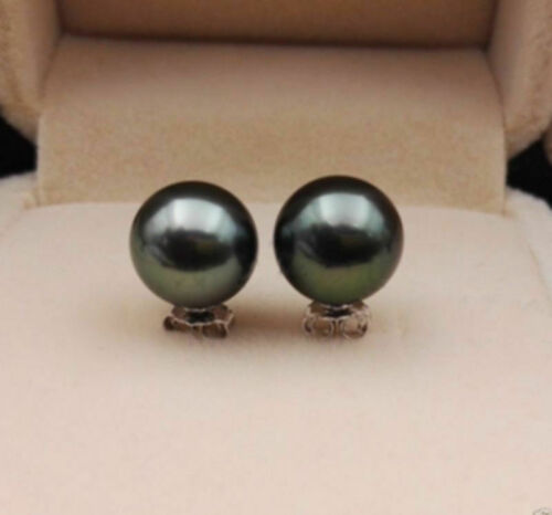 noir South Sea Shell Pearl Argent Clous D/'Oreilles 10//12mm TAHITI AAA