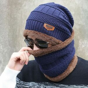 465d1f43563 Winter Camping Hat + Scarf Knit Ski Cap Fleece Beanie Wool Warm ...