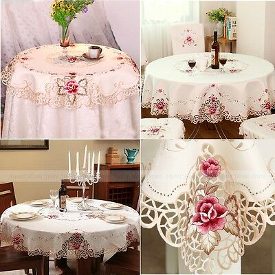 Embroidered Tablecloth Rose Cutwork Round Dining Table Cover Thanksgiving Gift