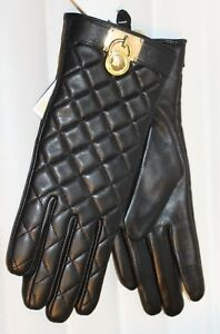 Michael-Kors-Leather-Quilted-Padlock-Gloves-Black-Gold-Tech-Womens-MSRP-98-NEW