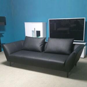 Sofa-Rolf-Benz-in-Leder-schwarz-Sofabank-176-mit-2-Kissen-Breite-220-cm