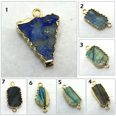 Natural Blue Lapis Lazuli 24k Gold Electroplated Connector Making DIY Jewelry