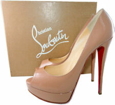 cf05f6363d9 Christian Louboutin Lady Peep Toe Pumps Shoes Nude Beige Patent Leather 41.5