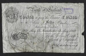Catterns-White-50-Fifty-Pound-Banknote-BoE-Manchester-Branch-56-X-May-1929-RARE