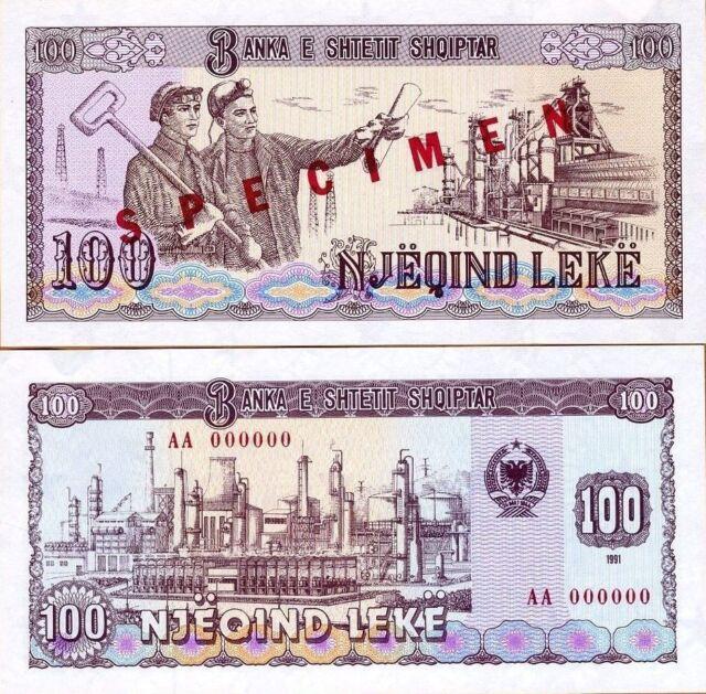 Albania Banknote Specimen Paper Money, 100 leke 1991, P-47 (47s), UNC