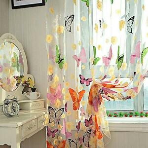 Sheer Curtain Butterfly Tulle Print Panel Window Balcony Door Room Divider CO