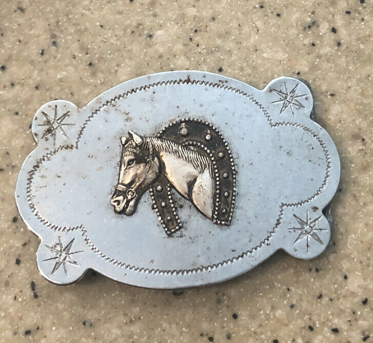 Two Toned Silver Horse Head and Horseshoe Belt Buckle Made in Hong Kong