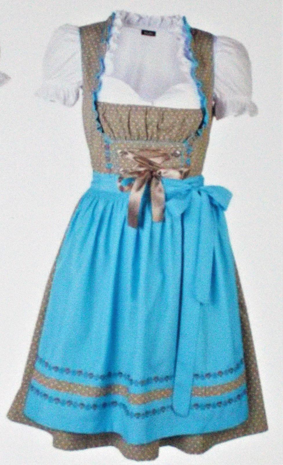 Zünftiges 3tlg. Damen Dirndl Kleid Kleid Kleid Oktoberfest Wiesn Gr.44 braun hellblau NEU  | Leicht zu reinigende Oberfläche  | Geeignet für Farbe  | Fierce Kaufen  8a54b9
