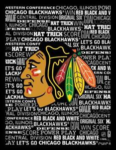 Chicago Blackhawks Typography Canvas Art Print (New) Canada Preview