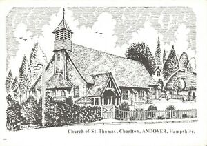 Art-Postcard-Church-of-St-Thomas-Charlton-Andover-Hampshire-Don-Vincent-AS1