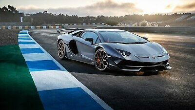 "Lamborghini Aventador Supercar Blue Poster 24/""x 36/"""