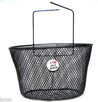BICYCLE BIKE KIDS CHILDREN I LOVE YOU FRONT MESH WIRE BASKET NEW BLACK CYCLE