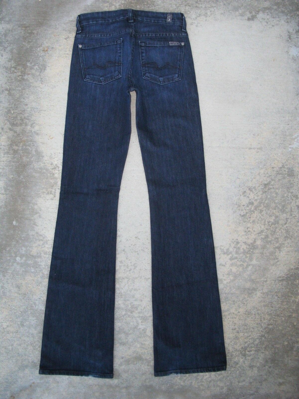 7 for all Mankind Kimmie Bootcut jeans Sz 24 Mid Waist Dark Distressed USA made
