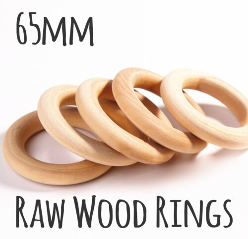 BULK 50x natural wood rings unfinished ring 65mm jewellery teeth baby wooden