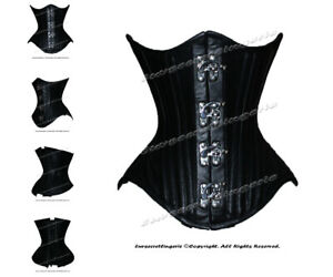 Heavy Duty 26 Double Steel Boned Waist Training Leather Underbust Corset #M199