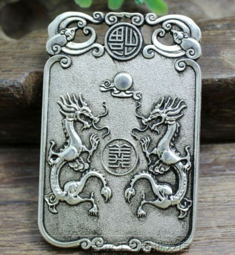 Chinese archaize copper carved double duke guan process sign pendant