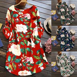Floral-T-shirt-Robe-Pour-Femmes-Retro-Robes-Plus-Taille-Robe-D-039-ete-Plage