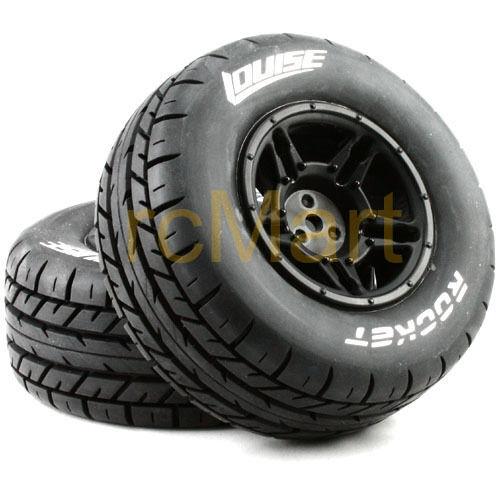 LOUISE 1:10 SC-Rocket Short Course Tire Soft Compound Black Rim Car #L-T3154SBTR