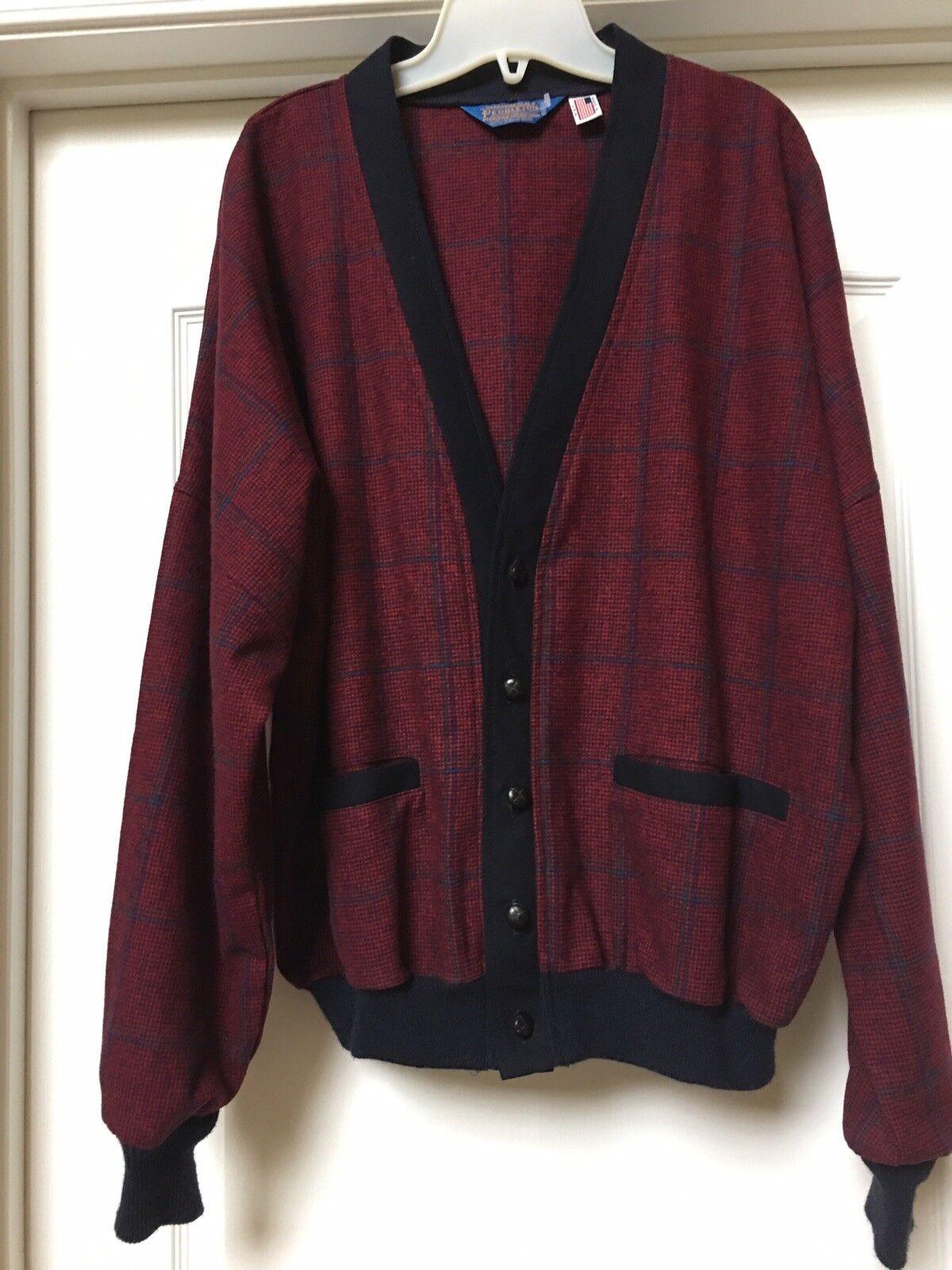 Vtg Pendelton Cardigan  Herren Made in USA 100% Wool Burgundy/ Blau, Größe 1X