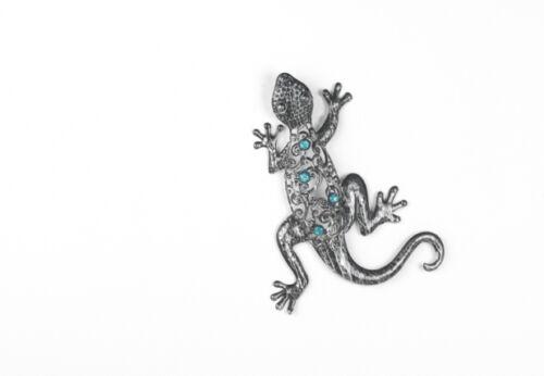 Schöner Deko Gecko Eidechse Salamander Wandhänger Wanddekoration Metall Silber