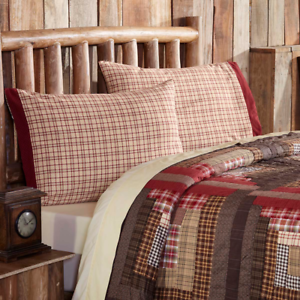 TACOMA-Standard-Pillow-Case-Set-Lodge-Creme-Red-Green-Plaid-VHC-Brands-21x30