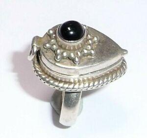 Anillo 925 Plata Veneno Con Compartimiento Secreto + Negro Ónix - 925 Tamaño 54