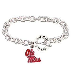Image Is Loading Ole Miss Rebels Mississippi Team Name Silver Toggle