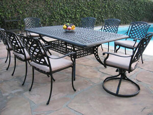 Terrific Details About Outdoor Cast Aluminum Patio Furniture 9 Piece Dining Set Kr With 2 Swival Rocker Home Interior And Landscaping Eliaenasavecom