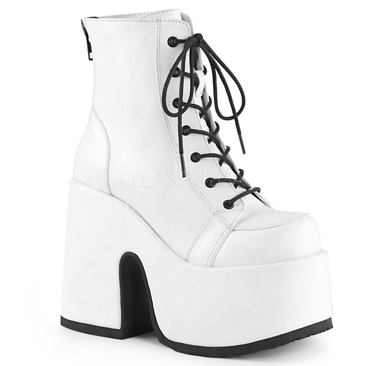 Demonia Camello - 203 Para acordonadas mujeres Cuero blancoo Vegano grueso talón plataforma botas acordonadas Para 798e0c